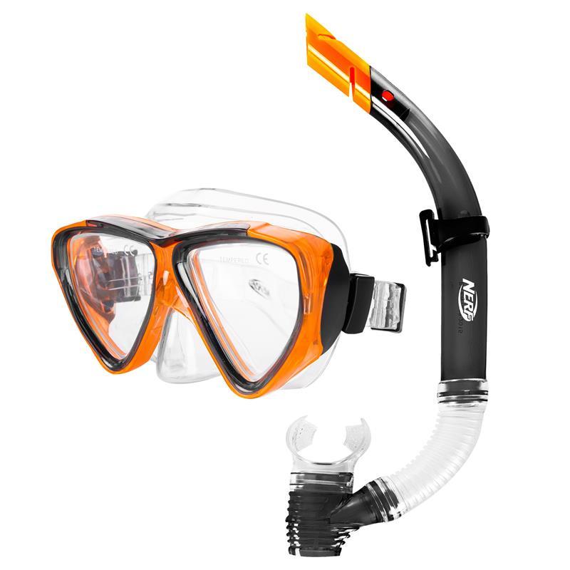 Spokey HASBRO JOURNAL Sada brýle+šnorchl, zn. NERF, černo-oranžová