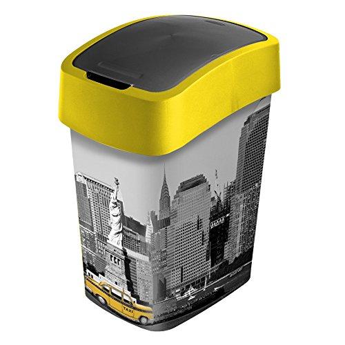 koš odpadkový 25l FLIP NEW YORK s víkem plastový