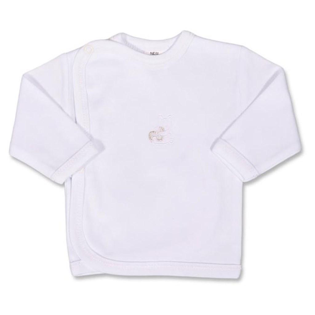Kojenecká košilka s vyšívaným obrázkem New Baby bílá - 50