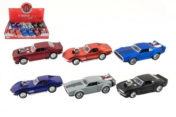 Auto sportovní kov/plast 12cm na baterie se zvukem mix druhů na zpětné natažení