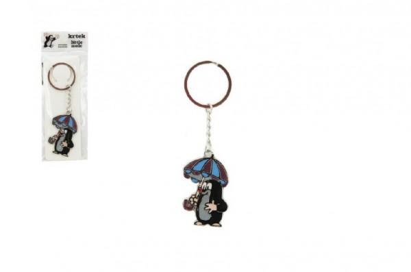 Kovový přívěšek Krtek s deštníkem na klíče 5cm