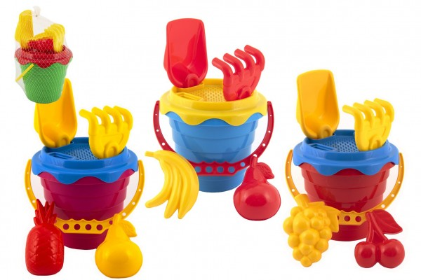 Sada na písek plast kbelík se sítkem 15x13cm, lopatka, hrabičky, 2 bábovky 4 barvy v síťce 12m+