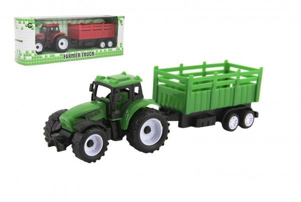 Traktor s vlekem plast 21cm na volný chod 2 barvy