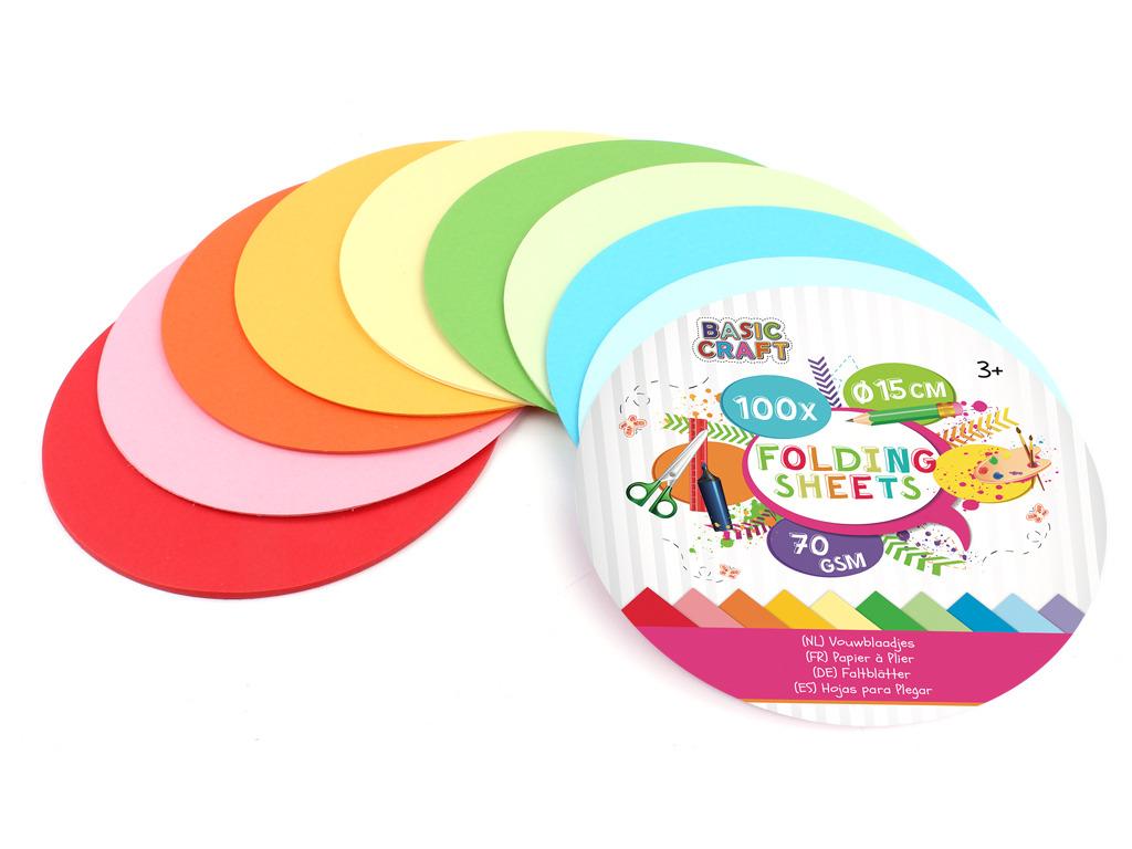 Sada barevných papírů kulatých 15 cm