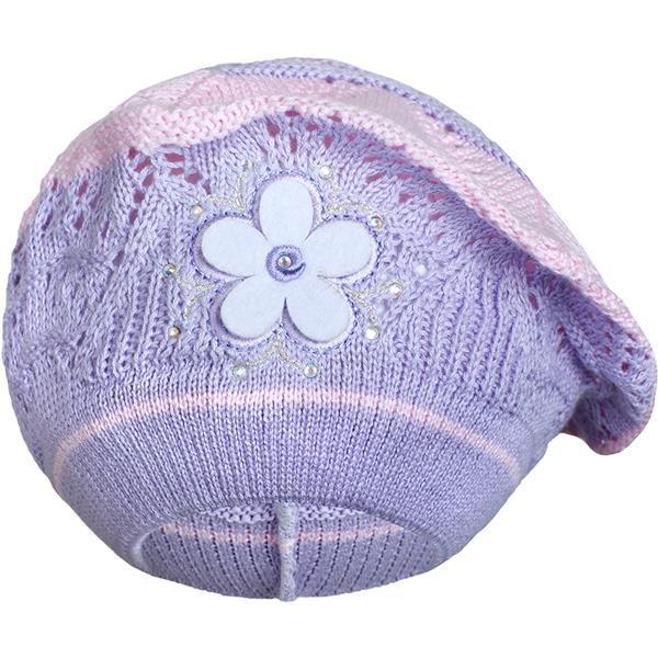 Pletená čepička-baret New Baby fialová - 104 (3-4r)
