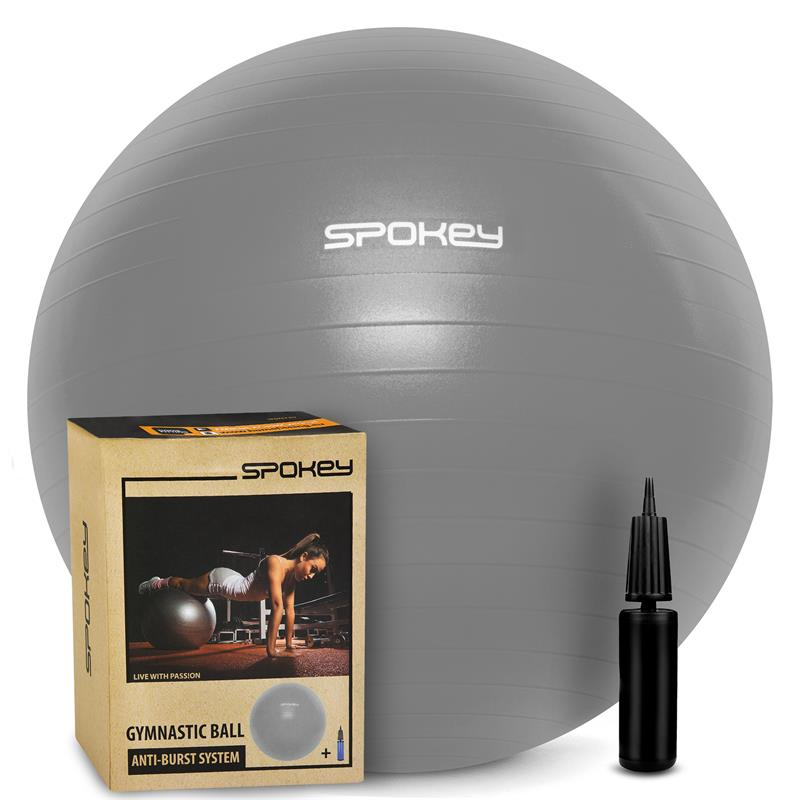 Spokey FITBALL III Gymnastický míč 75 cm včetně pumpičky, šedý