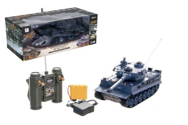 Tank RC plast 33cm TIGER I 40MHz na baterie+dobíjecí pack se zvukem a světlem