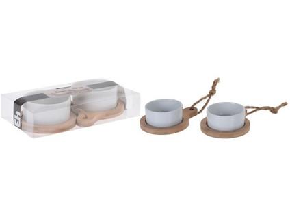 miska servírovací sada 4díl.(2x dřev. tácek+2x miska porcelán pr.7,5cm)