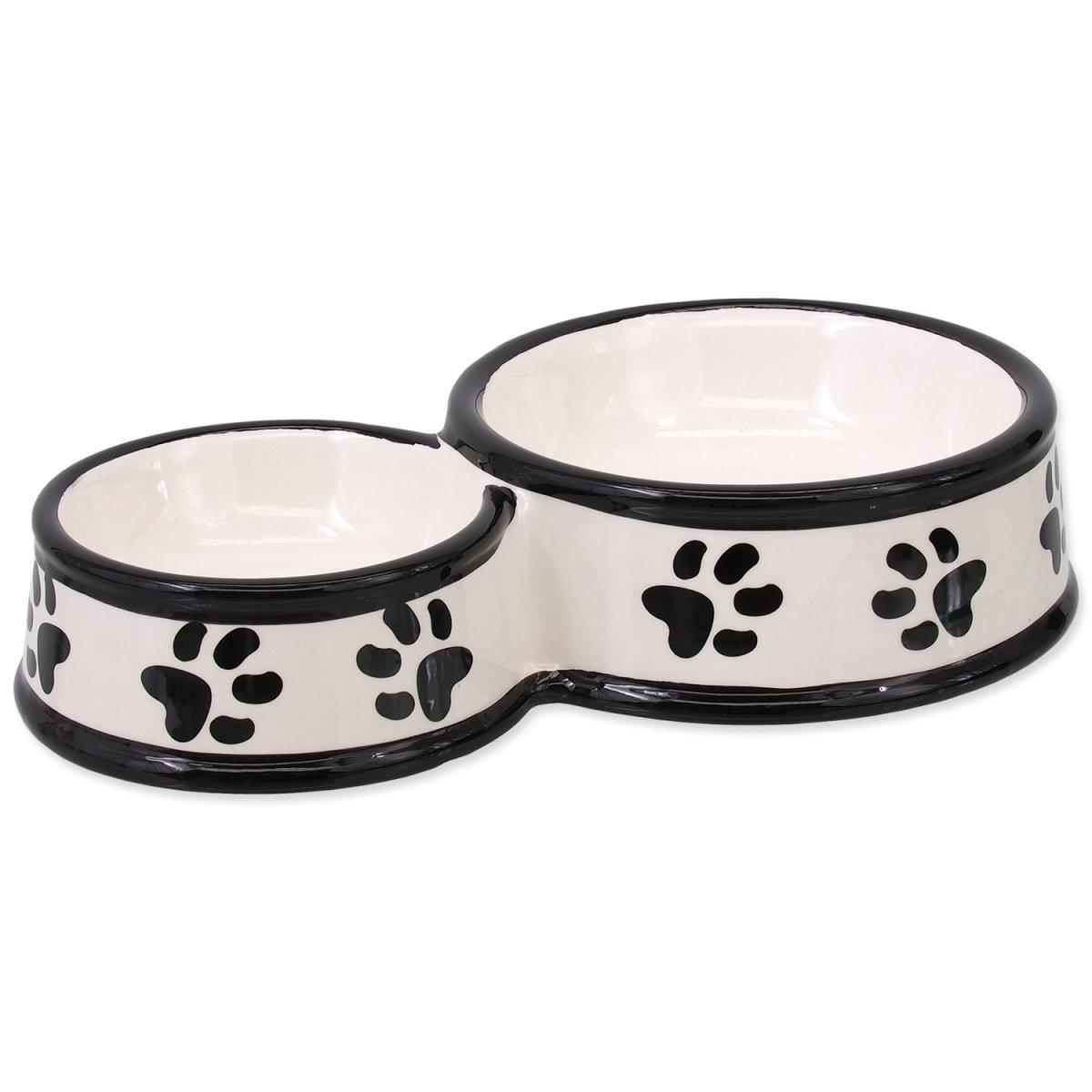 Dvojmiska DOG FANTASY keramická potisk tlapka bílá 25 cm (0,42l)