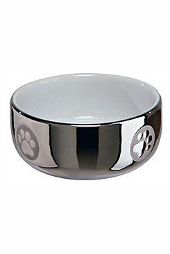 Miska keramická kočka stříbrná s tlapkou 0,3l 11cm TR