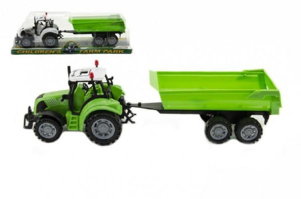 Traktor s vlekem a výklopkou plast 35cm na setrvačník v blistru - mix barev