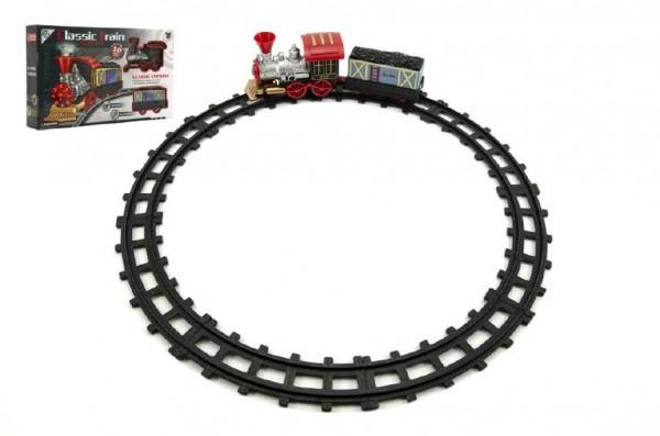 Vlak/Lokomotiva s vagónkem a dráhou 10ks plast na baterie