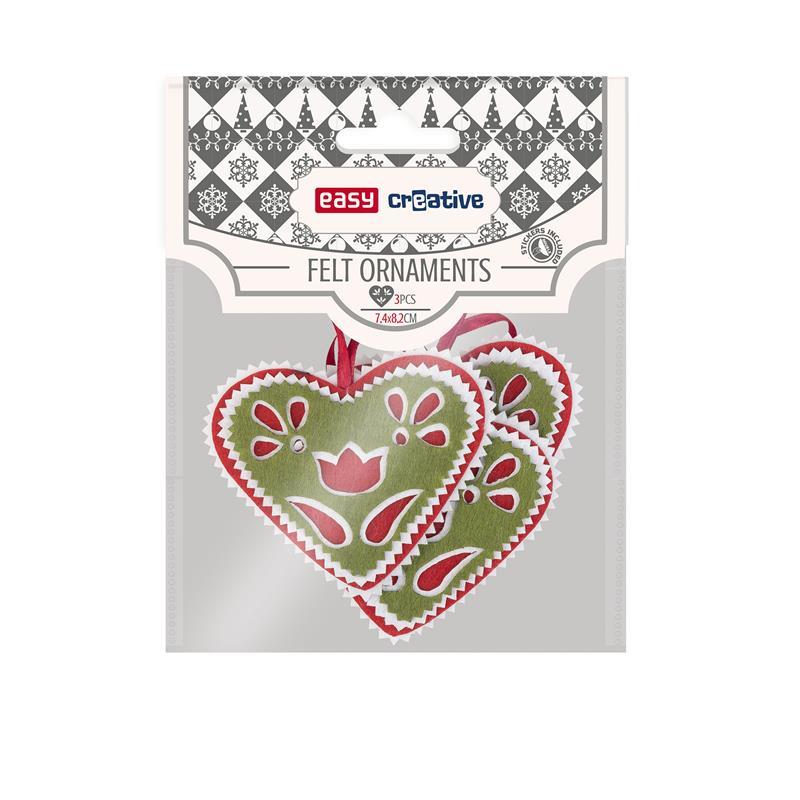 Dekorativní plstěné ozdoby srdce zelené 3ks se samolepkou 74x82 mm