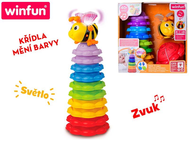 Pyramida včelka s křídly měnícimi barvu / 5 míčků na baterie se světlem a zvukem