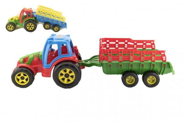 Traktor s vlekem plast 75cm - mix barev