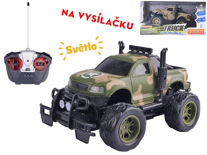 R/C auto vojenské terénní 24 cm 27 MHz plná funkce na baterie se světlem - mix barev