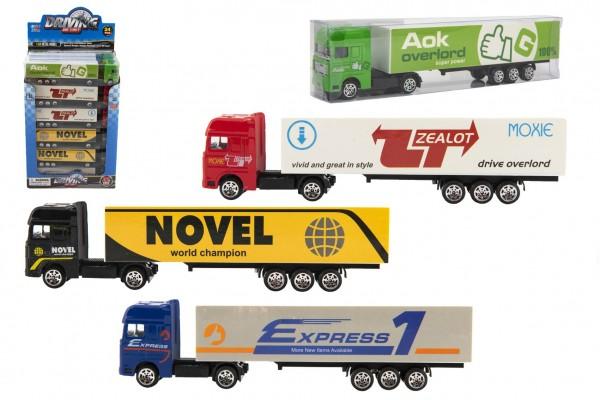 Auto kamion s návěsem kov/plast 20cm na volný chod mix druhů v plast. krabičce