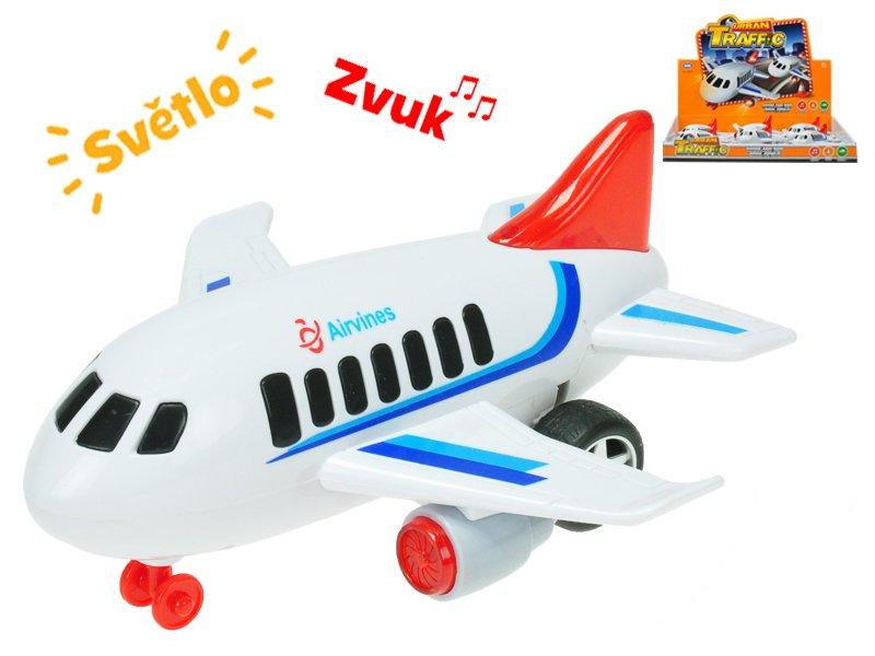 Letadlo dopravní 18 cm na setrvačník na baterie se světlem a zvukem