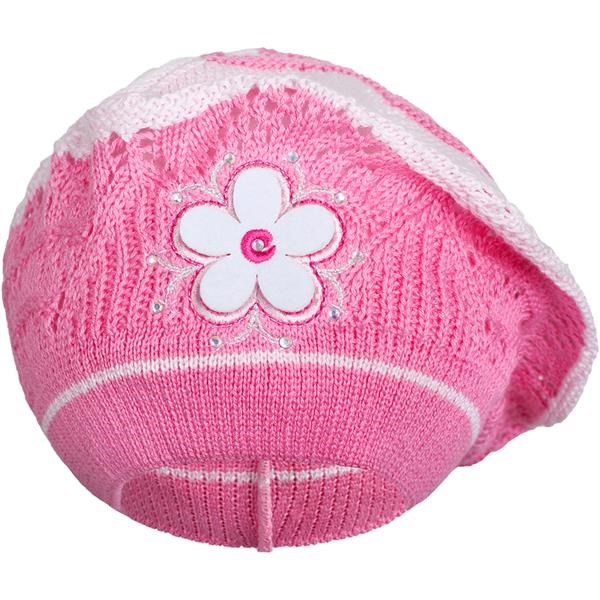 Pletená čepička-baret New Baby tmavě růžová - 104 (3-4r)