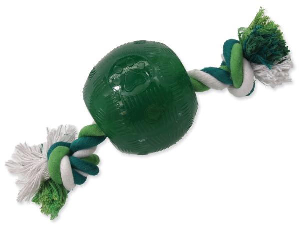 Hračka DOG FANTASY Strong Mint míček gumový s provazem zelený 9,5 cm (1ks)