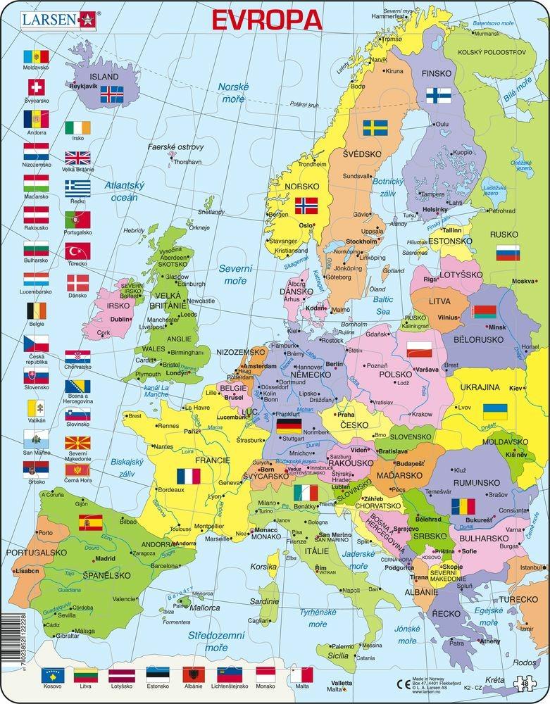 Puzzle mapa Evropy 70 dílků