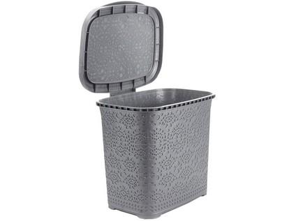 koš odpadkový MONAKO 9l 26x23x29cm s víkem plastový, ŠE metalíza