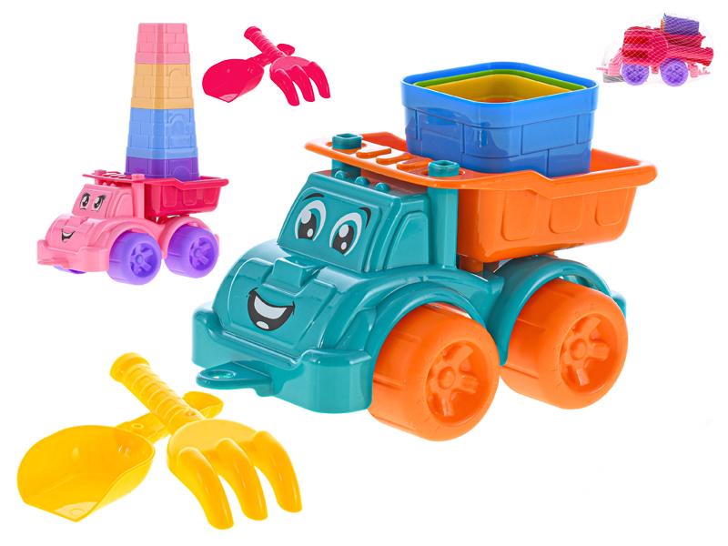 Auto na písek s doplňky - mix barev
