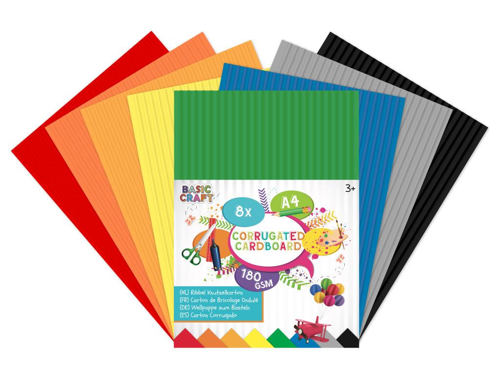 Sada barevných papírů vlnkovaté A4