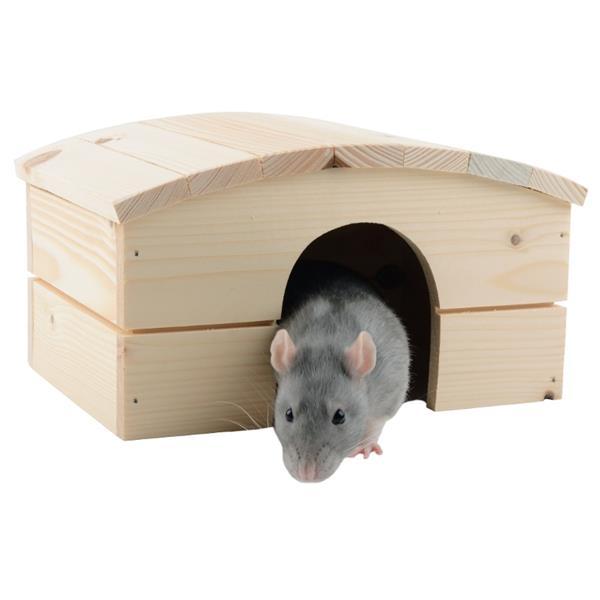 Domek dřevo morče obloukovitá střecha 23 x 17 x 14 cm