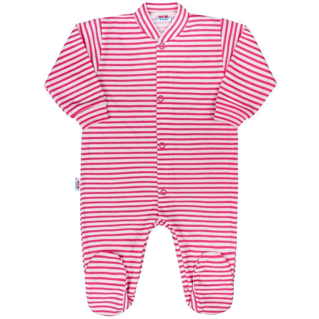 Kojenecký overal New Baby Classic II s růžovými pruhy - 56 (0-3m)