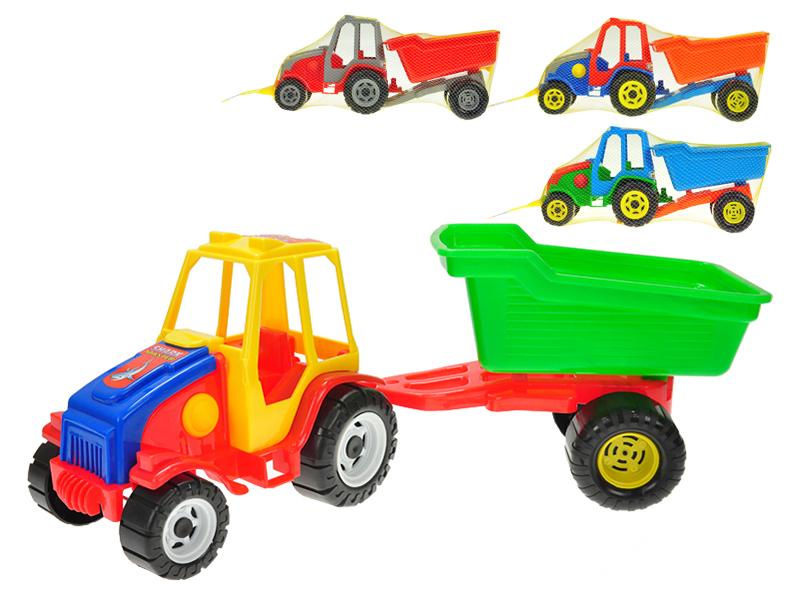 Traktor s vlekem plast 52cm - mix barev
