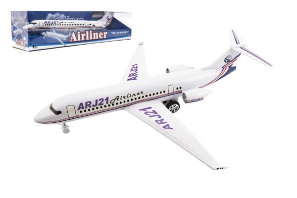 Letadlo na setrvačník plast 40cm na baterie se světlem se zvukem v blistru