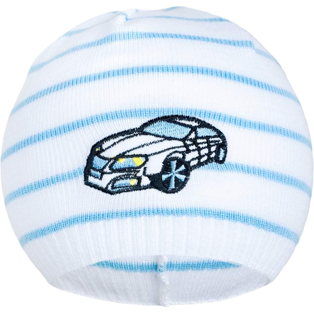 Jarní čepička New Baby s autíčkem bílo-modrá - 104 (3-4r)