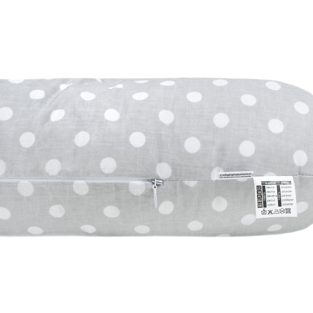Univerzální kojící polštář ve tvaru C New Baby XL šedý s puntíky