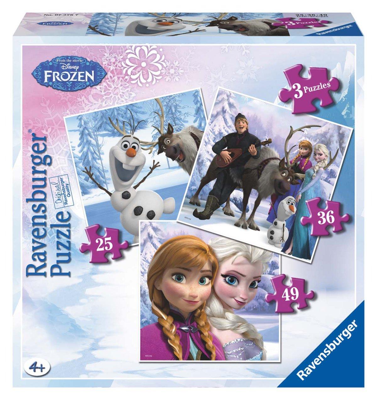 Ravensburger puzzle Ledové království 3 v1 25/66/49 dílků