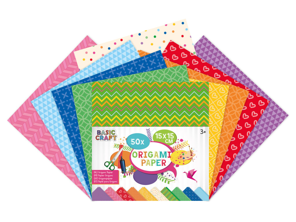 Sada barevných papírů Origami 15x15