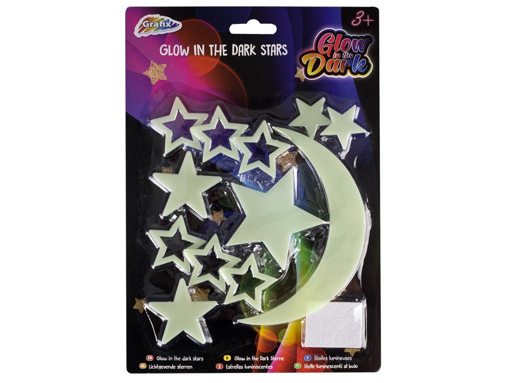 Hvězdičky, měsíček nalepovací na zeď svítící