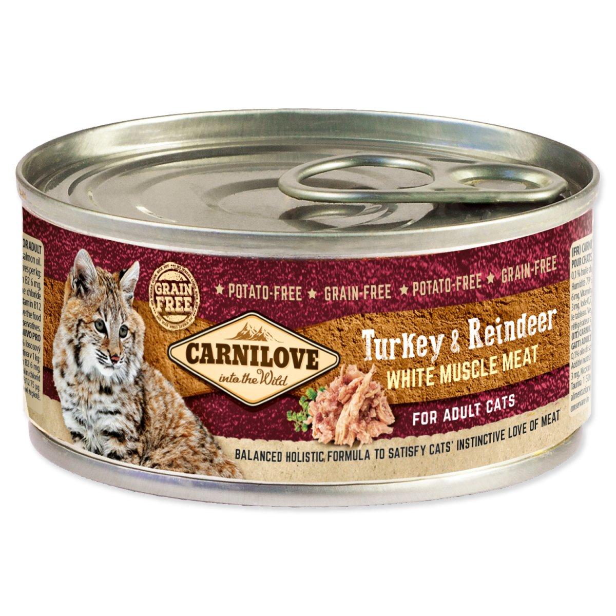 Konzerva CARNILOVE WMM Turkey & Reindeer for Adult Cats (100g)