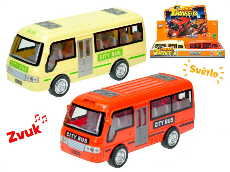 Autobus 18 cm na setrvačník na baterie se světlem a zvukem - mix barev