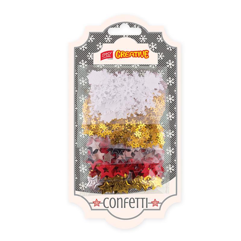 Dekorativní konfety mix vločky + hvězdičky 5 barev, 5 x 4 g