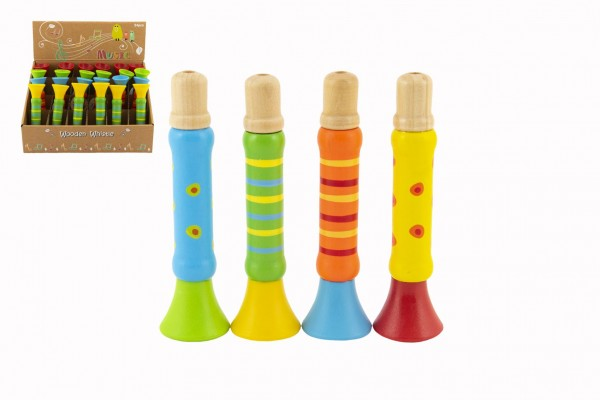 Píšťalka dřevěná barevná 12 cm 4 barvy 18m+