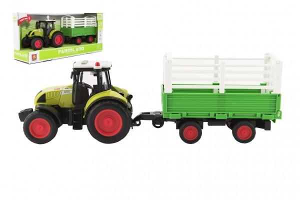 Traktor s vlekem plast 39cm na setrvačník na baterie se zvukem se světlem