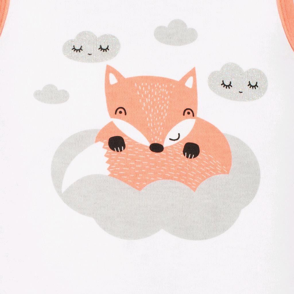 Kojenecká bavlněná košilka New Baby Liška lososová - 50