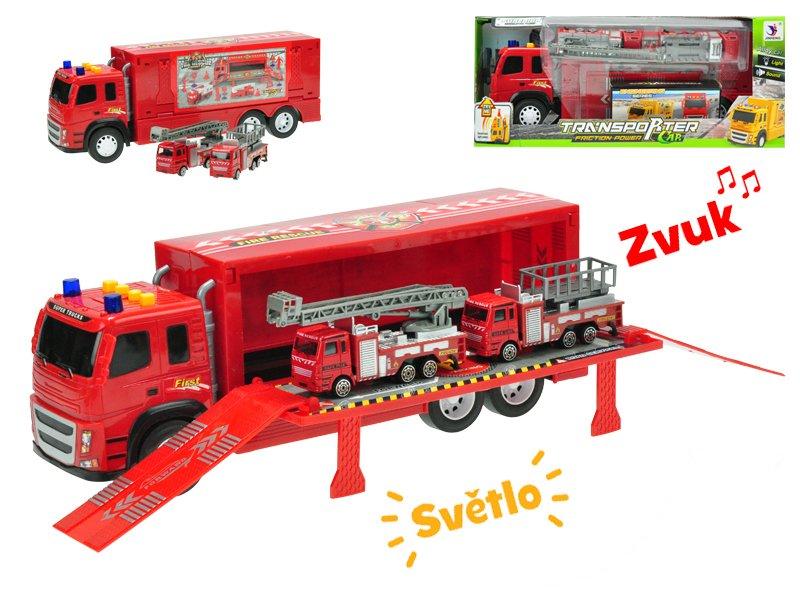 Kamion 40 cm na setrvačník na baterie se světlem a zvukem + 2 auta hasiči kov 12 cm
