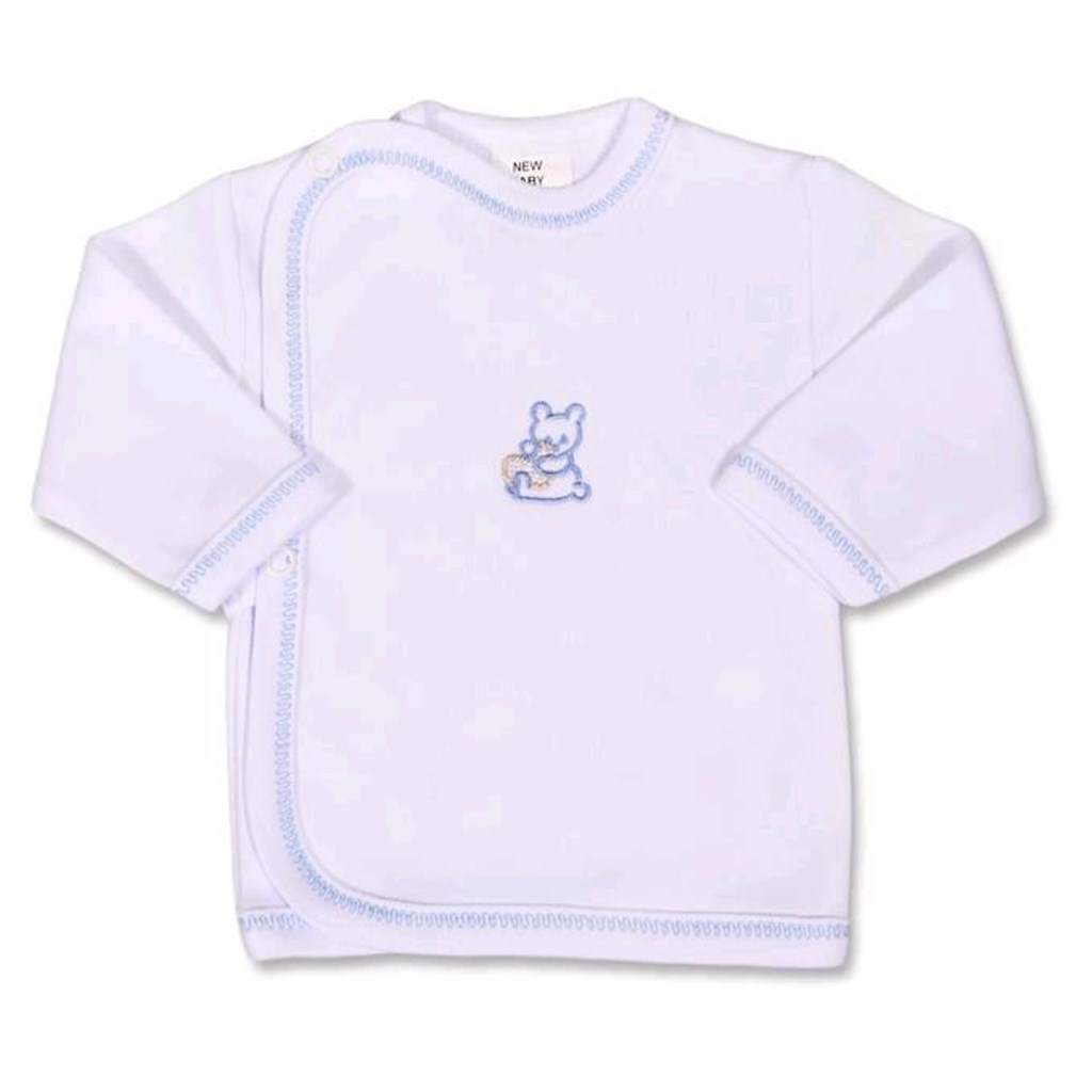 Kojenecká košilka s vyšívaným obrázkem New Baby modrá - 56 (0-3m)