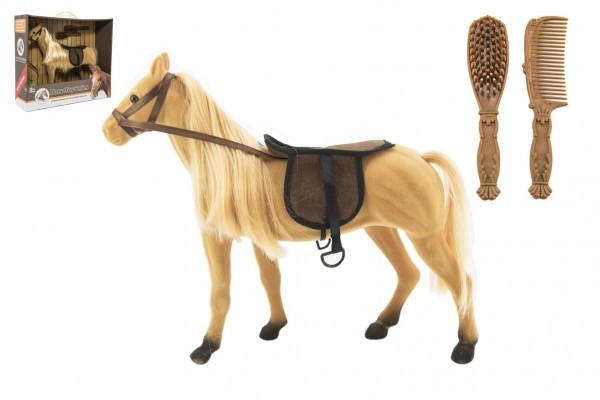 Kůň česací velký fliška s doplňky plast 38cm