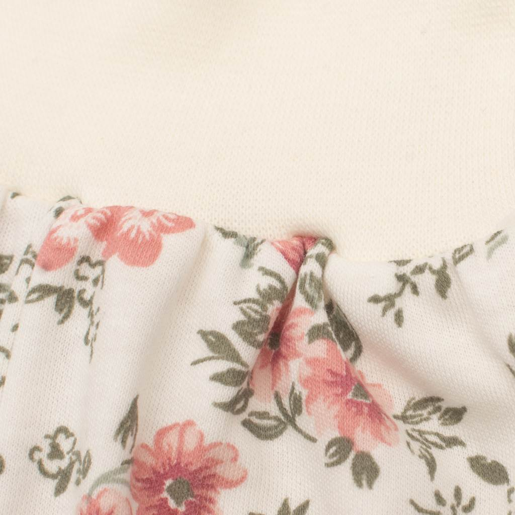 Kojenecké tepláčky New Baby Flowers béžové - 56 (0-3m)