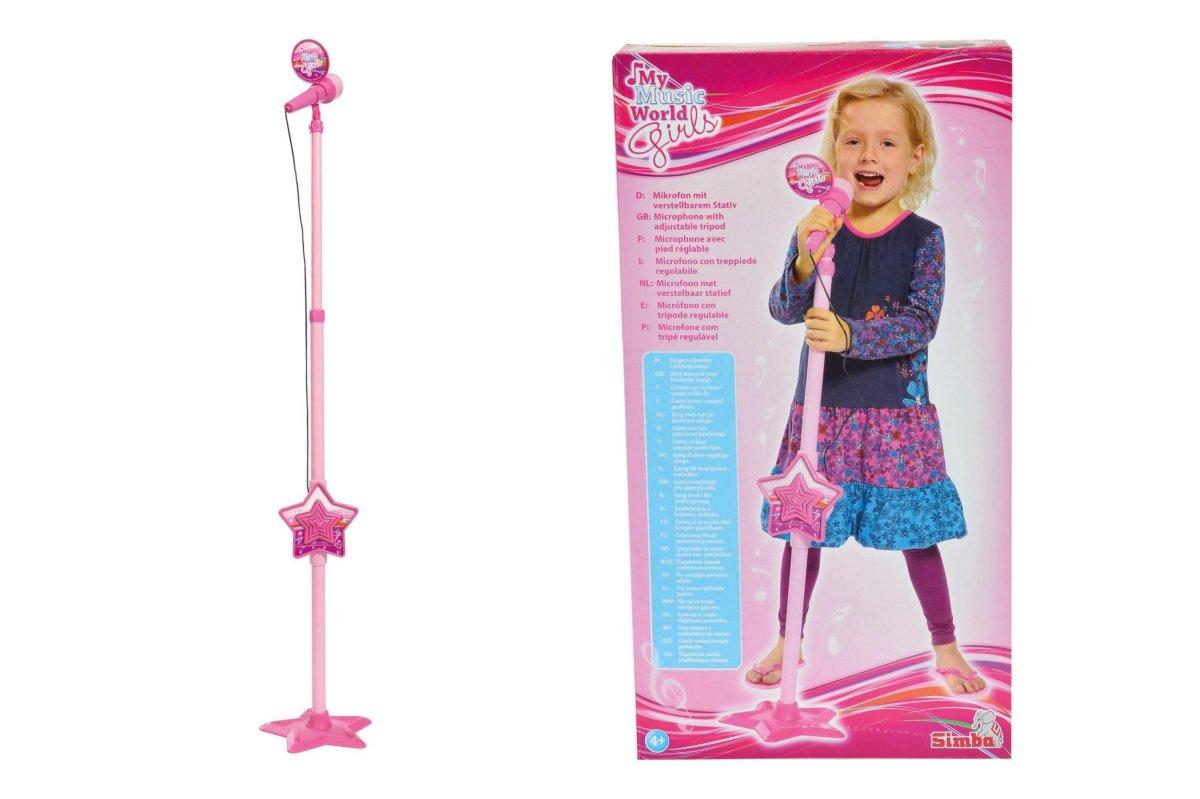 MMW Růžový mikrofon se stojanem, i pro MP3