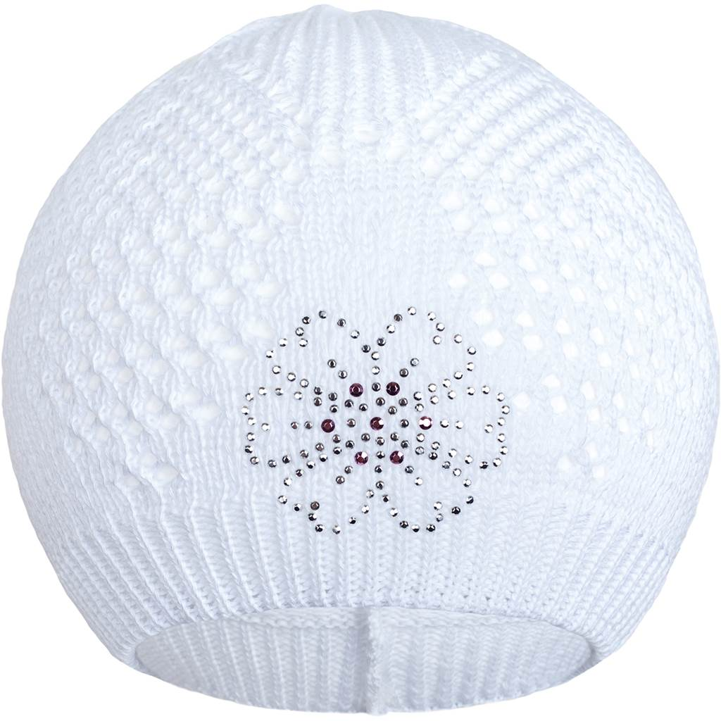 Pletená čepička New Baby kytička bílá - 104 (3-4r)