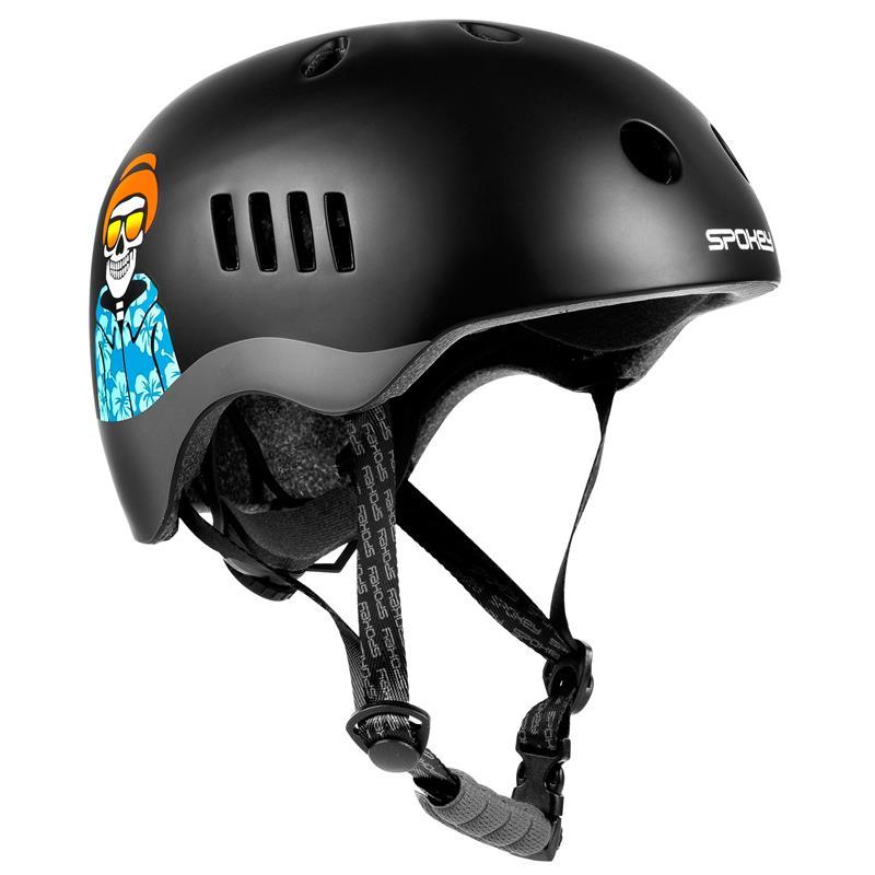 Spokey PUMPTRACK Juniorská cyklistická BMX přilba IN-MOLD, 58-61 cm, černo-šedá